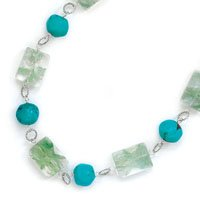 Extension Green Quartz and Turquoise Necklace, Sterling Silver
