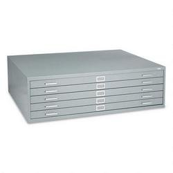 Safco Five-Drawer Steel Flat File, 53-3/8w x41-3/8d x 16-1/2h, Gray