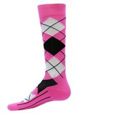 Red Lion Red Lion Argyle Compression Running Socks , Neon Pink, Medium