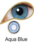 Coloured Contact Lenses with Free Solution and Case - Aqua Blue (3 Months)