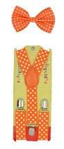 Baby Toddler Kids Children Boys Girls Orange Polka Dot Bow Tie & Suspender Set