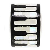 Piano Keys Bead Inlaid Mother of Pearl Drum Shaped Sterling for European Charm Bracelet