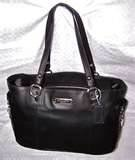 Coach Gallery Leather Zipper Tote Black Leather 19252
