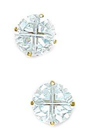 14k Yellow Gold 7mm 4 Segment Round CZ Basket Set Earrings - JewelryWeb