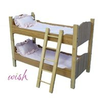 "18 Inch Doll Natural Bamboo Bunk Bed Furniture - Beds Fit 18"" American Girl Dolls - With Bedding And Ladder"