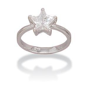 Star Ring Cubic Zirconia Sizes 6-10 Rhodium on Sterling Silver Nontarnish, 8