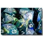 Chessex Dice: Polyhedral 7-Die Festive Dice Set - Green W/Silver