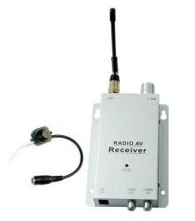 New Hidden Camera Mini Spy One 1.2ghz Receiver With 9 Volt 500 Ma Adapter Av Cable With Rca Plugs