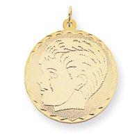 14k Boy Head on .018 Gauge Engraveable Scalloped Disc Charm - JewelryWeb