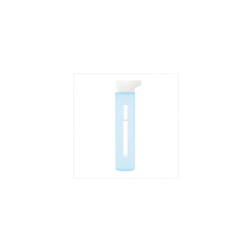 Takeya Modern Glass Water Bottle 18 oz Ice Blue with Snow