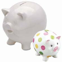 Piggy Bank - Ceramic - White - 5-3/4 inches High - 1