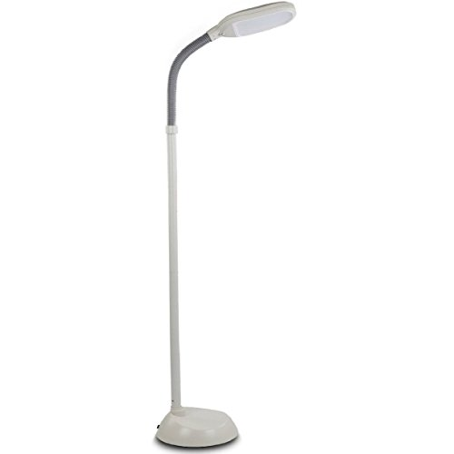 Brightech - Litespan LED Reading Floor Lamp - Soft White Light Editon - Neutrual White Light Color - Built-in Dimmer - Adjustable Head Pivots in Any Direction - Energy Saving 12 Watts - White Color (48 Inch Full Spectrum Led compare prices)