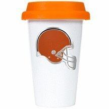 Nfl Cleveland Browns Double Wall Tumbler With Silicone Lid, 12-Ounce, White/Orange front-597314