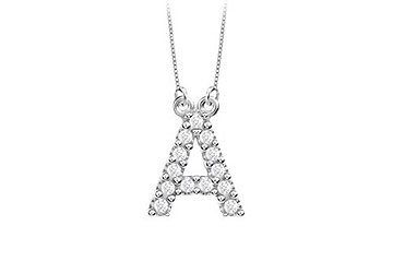 Petite Baby Charm Cubic Zirconia A Initial Pendant .925 Sterling Silver - 0.25 CT TGW MADE IN USA