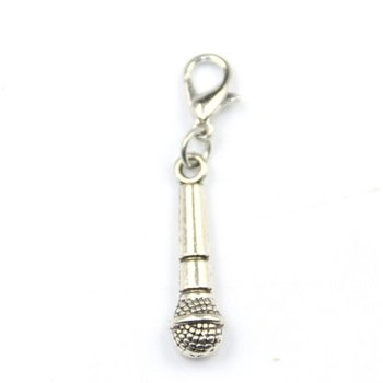 Alloy Microphone Dangle Charms Fit Floating Locket Chain Floating Dangles Lobster Clasp Charms
