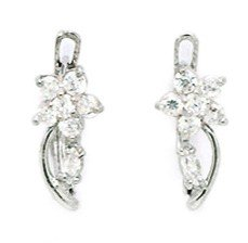 14ct White Gold April Birthstone Clear CZ Flower and Leaf Leverback Earrings - Measures 13x5mm