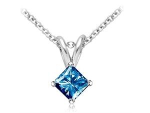 PARIKHS Princess Cut Blue Diamond Solitaire Pendant AAA Quality in White Gold (0.80 ctw)