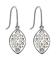 M&S Collection Finest Sterling Silver Shell Inlay Drop Earrings