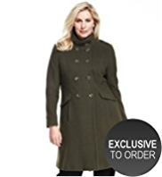 Plus Wool Blend Double Breasted Military Coat with Cashmere