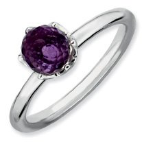 1ct Charming Silver Stackable Amethyst Briolette Ring. Sizes 5-10 Available