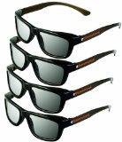ED 4 Pack CINEMA 3D GLASSES For LG 3D TVs - Adult Sized Passive Circular Polarized 3D Glasses