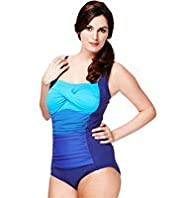Plus Colour Block Shoulder Swimsuit