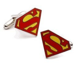 Cheap Superman Cufflinks : Red Superman Logo (cuff-link)