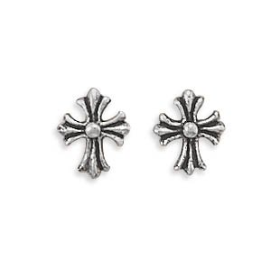 Small Cross Post Stud Earrings with Antique Finish