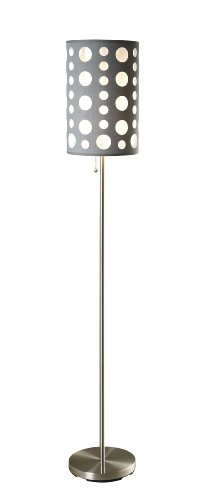 Ore International 9300F-Gy-Wh Modern Retro Floor Lamp, Grey/White, 62 Inches front-984151