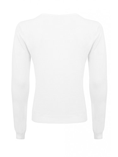 Womens White Lace Yoke Jumper Ladies