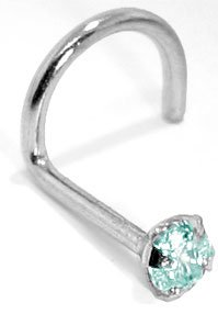 3.0mm Aquamarine (March) - 950 Platinum Nose Ring Twist / Screw- 20 Gauge