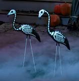 217izCYXdBL. SL160  2 Halloween Skeleton Yard Flamingos Lawn Decor Ornaments   Great for Halloween Haunted House or Over the Hill Party Decorations