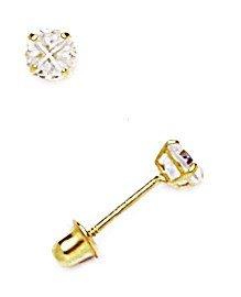 14k Yellow Gold 4mm Round Segmented CZ Screwback Earrings - JewelryWeb