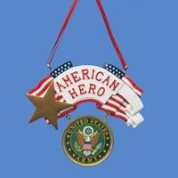 """American Hero"" U.S. Army Plaque Christmas Ornament"