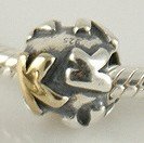 K - Initial Letter - Gold Plated & Sterling Silver Charm Bead - fits Pandora, Chamilia etc style Bracelets - SpangleBead