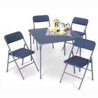 5 Piece Set with 34 Square Folding Table and 4 Chairs in Tan By Cosco