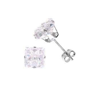 .925 Sterling Silver Stud In Stamping Setting With White Cubic Zirconia Square Invisible Shape 6 mm