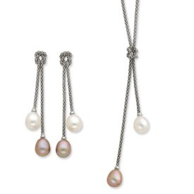 Sterling Silver Freshwater Cultured Pearl Knot 18 In. Necklace & Earring Se