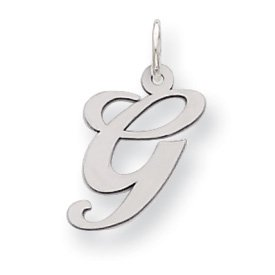 Sterling Silver Medium Fancy Script Initial G Charm - JewelryWeb
