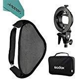 Godox loading Adjustable 40 x 40cm/ 15 x 15 Softbox Diffuser Kit with S-Type Bracket Bowens Holder for Speedlite Flash Light