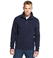 Blue Harbour Cotton Rich Half Zip Fleece Top