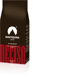Montedoro Caffe`- Espresso Whole Beans - Coffee Bean Direct Italian Roast - Deciso Strong Blend - 6 x 2.2 lb Bags.Kosher Certified.