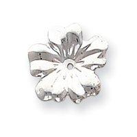 14k White Gold Floral Earrings Jackets - JewelryWeb