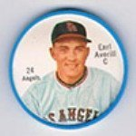 1962 Salada Tea Coins (Baseball) Card# 24 Earl Averill (White Shirt Buttons) Of The Los Angeles Angels Exmt Condition