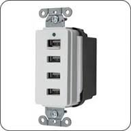 Hubbell Wiring System - White Usb Charger 4 Port Outlet - More Power - Charge Faster!