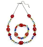 Assorted Multi-Faceted Bead Necklace & Bracelet Set