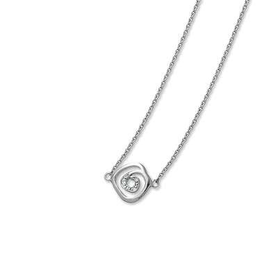 Simply Pretty 925 Sterling Silver Chain Necklace with Baguette CZ Diamonds Thin Swirl Designed Pendant(WoW !With Purchase Over $50 Receive A Marcrame Bracelet Free)
