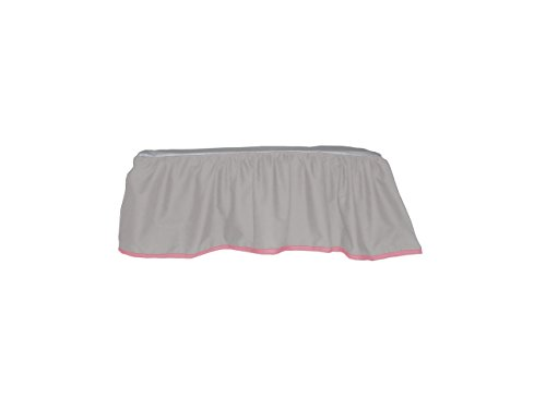 Baby Doll Solid Reversible Crib Dust Ruffle, Grey/Pink