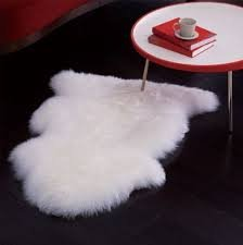 Genuine Sheepskin Rug Single Pelt Ivory White Fur, 2ft X 3ft