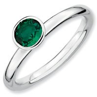 0.47ct Stackable High 5mm Round Emerald Ring Band. Sizes 5-10 Available